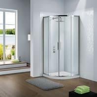 Box doccia semicircolare scorrevole Slimline 100 x 100 cm, H 195 cm in vetro temprato, spessore 6 mm trasparente argento