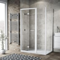 Box doccia pieghevole 115 x 80 cm, H 195 cm in vetro, spessore 6 mm trasparente bianco