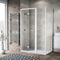 Box doccia pieghevole 140 x , H 195 cm in vetro, spessore 6 mm trasparente bianco