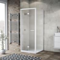 Box doccia pieghevole 90 x , H 195 cm in vetro, spessore 6 mm spazzolato bianco