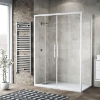 Box doccia scorrevole 155 x 80 cm, H 195 cm in vetro, spessore 6 mm trasparente bianco