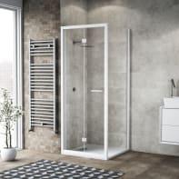 Box doccia pieghevole 90 x 80 cm, H 195 cm in vetro, spessore 6 mm trasparente bianco