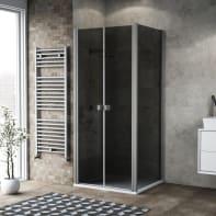 Porta doccia 80 x 80 cm, H 200 cm in vetro, spessore 6 mm fumé argento