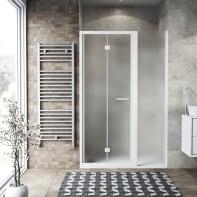 Box doccia pieghevole 140 x , H 195 cm in vetro, spessore 6 mm spazzolato bianco