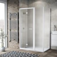 Box doccia pieghevole 125 x , H 195 cm in vetro, spessore 6 mm spazzolato bianco