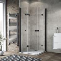Box doccia pieghevole 80 x 100 cm, H 200 cm in vetro, spessore 6 mm trasparente nero