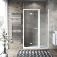 Box doccia pieghevole 85 x , H 195 cm in vetro, spessore 6 mm trasparente bianco