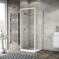Box doccia battente 70 x 80 cm, H 195 cm in vetro, spessore 6 mm trasparente bianco