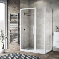 Box doccia battente 115 x 80 cm, H 195 cm in vetro, spessore 6 mm trasparente bianco