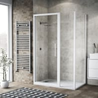 Box doccia battente 125 x 80 cm, H 195 cm in vetro, spessore 6 mm trasparente bianco