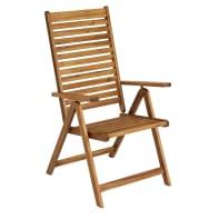 Sedia con braccioli senza cuscino pieghevole in legno Porto NATERIAL colore marrone