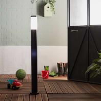 Lampione  Travis H100.0 cm in acciaio inossidabile, nero, E27 1x MAX 40W IP44 INSPIRE