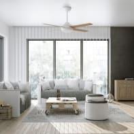 Ventilatore da soffitto LED integrato Shamal, rovere, D. 132 cm, con telecomando