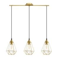 Lampadario Design Byron dorato in metallo, D. 79 cm, L. 79 cm, 3 luci, INSPIRE