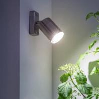 Faretto per giardino Victoria in acciaio inossidabile, silver, GU10 MAX35W IP44 INSPIRE