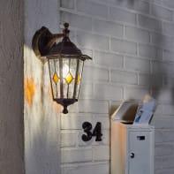 Applique per giardino Tiffany in alluminio, nero e oro, E27 MAX60W IP44 INSPIRE