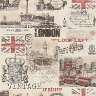 Carta da parati London rosso e beige, 53 cm x 10.05 m