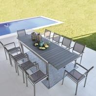 Set tavolo e sedie Albany in alluminio grigio / argento 6 posti