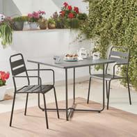 Set tavolo e sedie Houston in metallo grigio / argento 2 posti