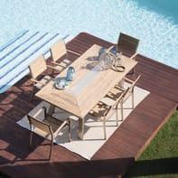 Set tavolo e sedie Kiev in alluminio marrone 6 posti