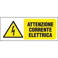 Cartello segnaletico Attenzione corrente elettrica pvc 31 x 14 cm