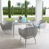 Set tavolo e sedie Voyage in metallo bianco 6 posti