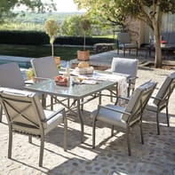 Set tavolo e sedie Roma in alluminio marrone 6 posti