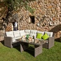 Divano da giardino con cuscino 6 posti in alluminio Medina colore marrone