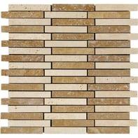 Mosaico Travertino Noce H 30 x L 30 cm noce