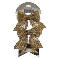 Fiocco Set due fiocchi in tessuto dorato , L 12 cm