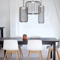 Lampadario Design Cage nero, in metallo, D. 35 cm, LUMICOM