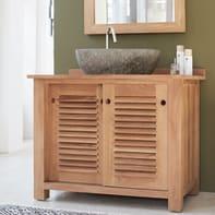 Mobile da bagno sotto lavabo L 95 x P 60 x H 80 cm in teak marrone