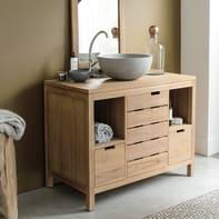 Mobile da bagno sotto lavabo L 100 x P 55 x H 78 cm in teak beige