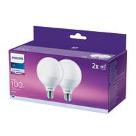 Lampadina LED E27, Globo,  diffusore Opaco, col.luce Bianco, Luce naturale, 15W=1521LM (equiv 100 W), 150° , PHILIPS , set di 2 pezzi