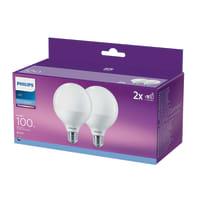 Lampadina LED E27 globo bianco freddo 15W = 1521LM (equiv 100W) 150° PHILIPS, 2 pezzi