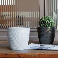 Vaso Liberty STEFANPLAST in plastica colore grigio H 15 cm, Ø 16 cm