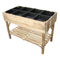 Fioriera per orto alta in legno 10-55. verde L 60 x P 20 x H 87 cm