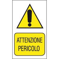 Cartello segnaletico Attenzione pericolo pvc 20 x 30 cm