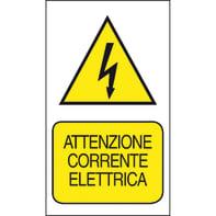 Cartello segnaletico Attenzione corrente elettrica pvc 20 x 30 cm