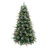 Albero di natale artificiale Albero di Natale con pigne e bacche verde H 180 cm,