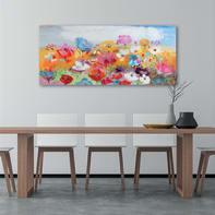 Dipinto originale Campo fiorito 65x150 cm