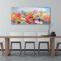 Quadro dipinto a mano Campo fiorito 65x150 cm