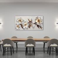Quadro dipinto a mano Fiori metallici 65x150 cm