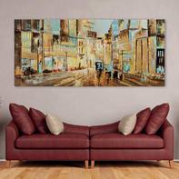 Quadro dipinto a mano Boulevard 80x180 cm