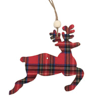 Decorazione per albero di natale Renna in legno fantasia scozzese rossa H 14 cm, L 14 cmx P 0.5 cm,