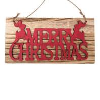 Fuoriporta Merry Christmas in legno H 12 cm, L 24 cm  x P 1 cm