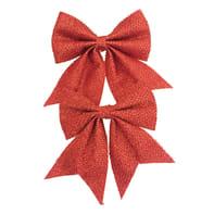 Fiocco Set 2 fiocchi in tessuto rosso brillante H 13 cm, L 13 cm confezione da 2 pezzi