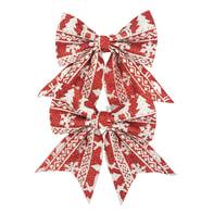 Fiocco Set 2 fiocchi in tessuto rosso con decori bianchi , L 13 cm x P 0.5 cm