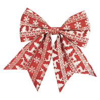 Fiocco Fiocco in tessuto rosso con decori bianchi H 24 cm, L 20 cmx P 0.8 cm,