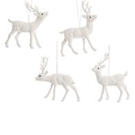 Decorazione per albero di natale Renna da appendere in plastica bianco, 4 versioni assortite